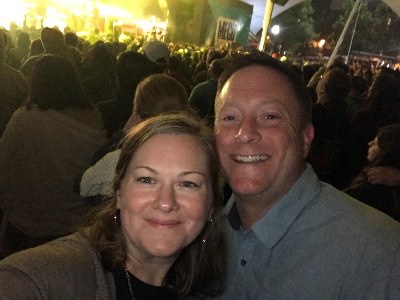 Adam Smith at a concert with his wife, Sarah