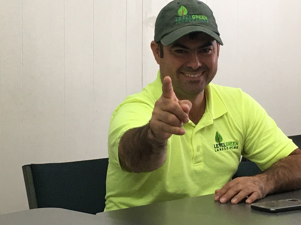 Hector Diaz working at Level Green Landscaping