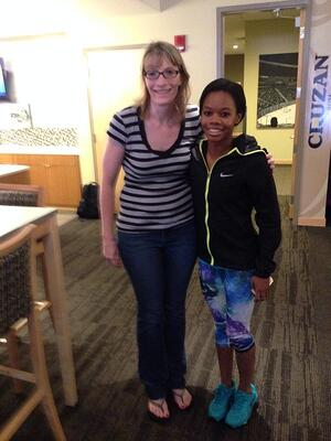 Marcene Pugh with Gabby Douglas