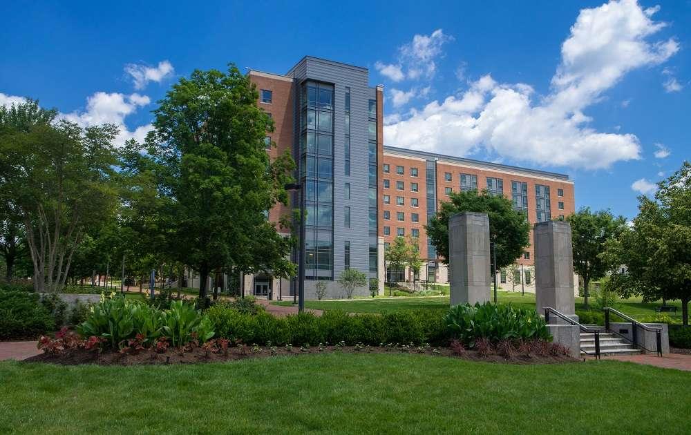 College landscape design, grass, trees, plants