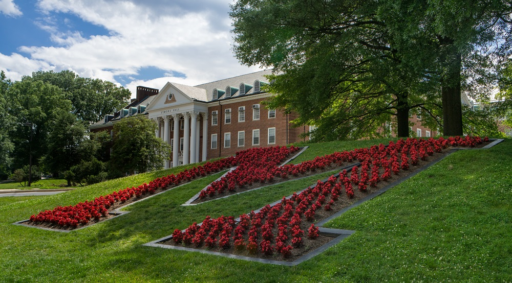 University of Maryland sign made with flowers