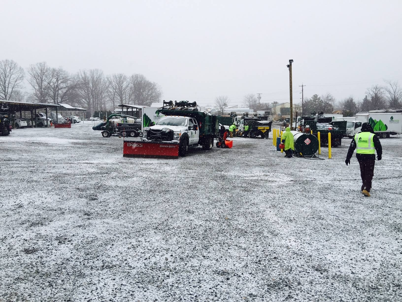 Level Green crews prepping and cleaning equipment