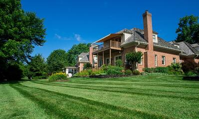 beautiful lawn with lines from lawn mower