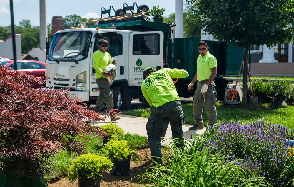 Level Green Landscaping crew in nice uniforms