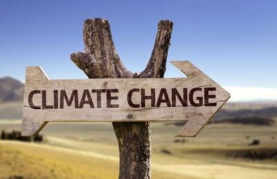 Climate Change sign on landscape
