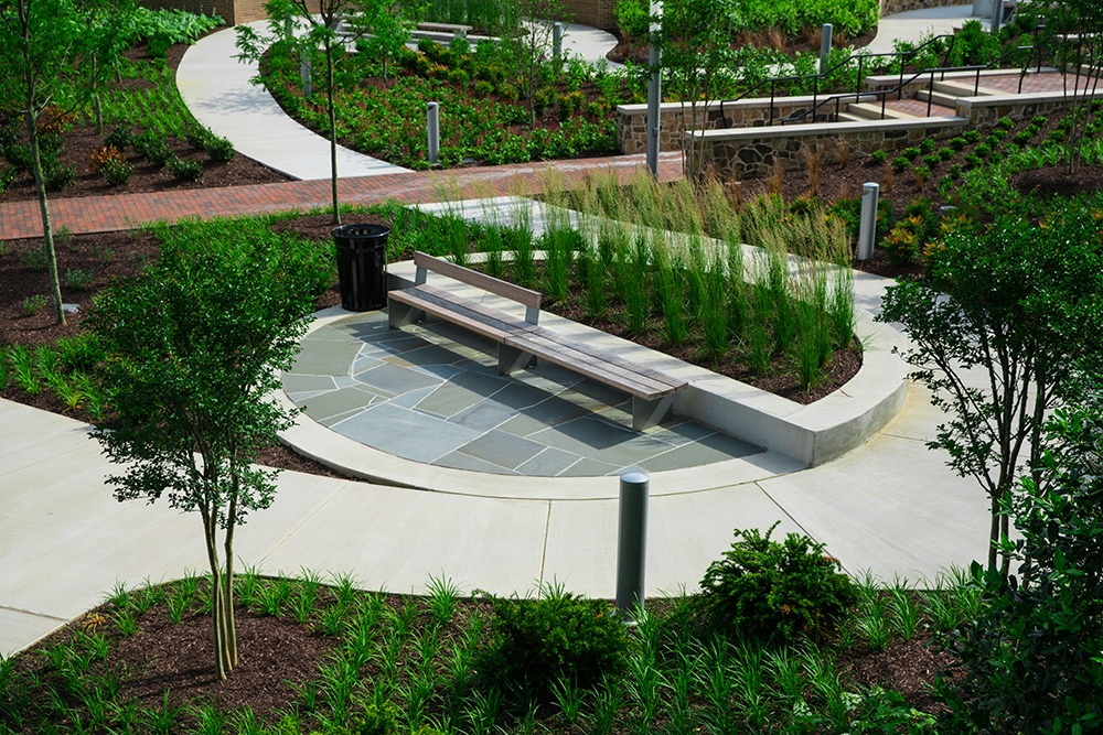common area landscaping and seating